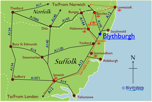 Location of Blythburgh in Suffolk